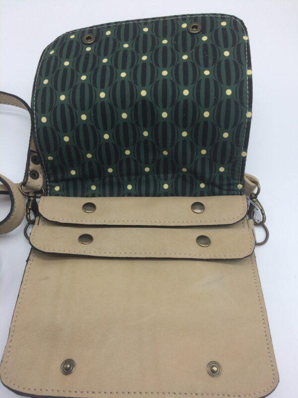 sac en cuir, beige, modèle Félicie, motif rond rayé