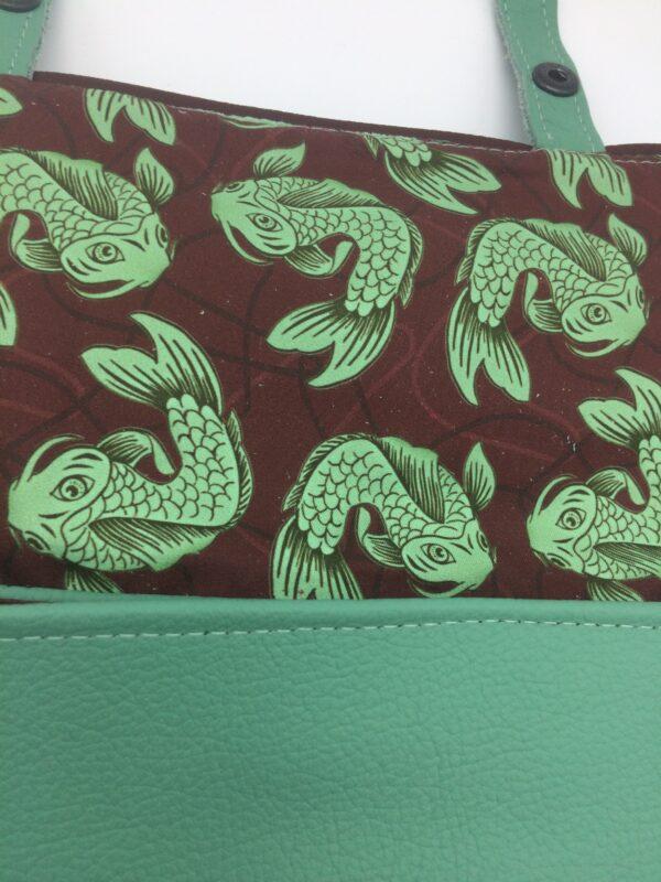sac en cuir, vert menthe, modèle Saphia, motif poisson bordeaux
