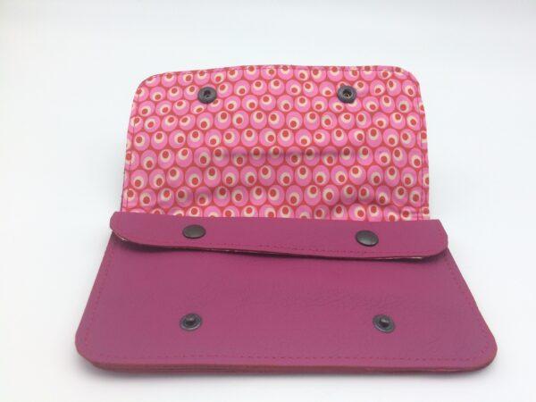 portefeuille en cuir, blague à tabac en cuir,rose , motif bulle rose
