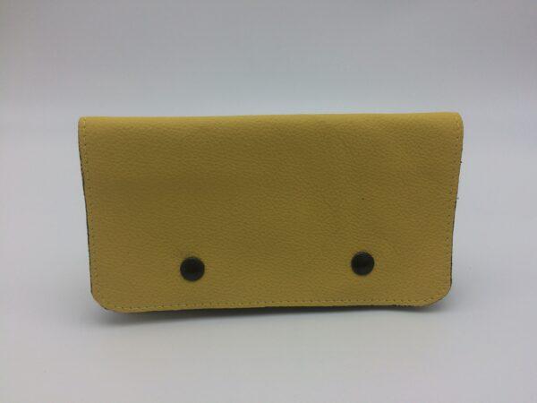 portefeuille en cuir, blague à tabac en cuir, jaune