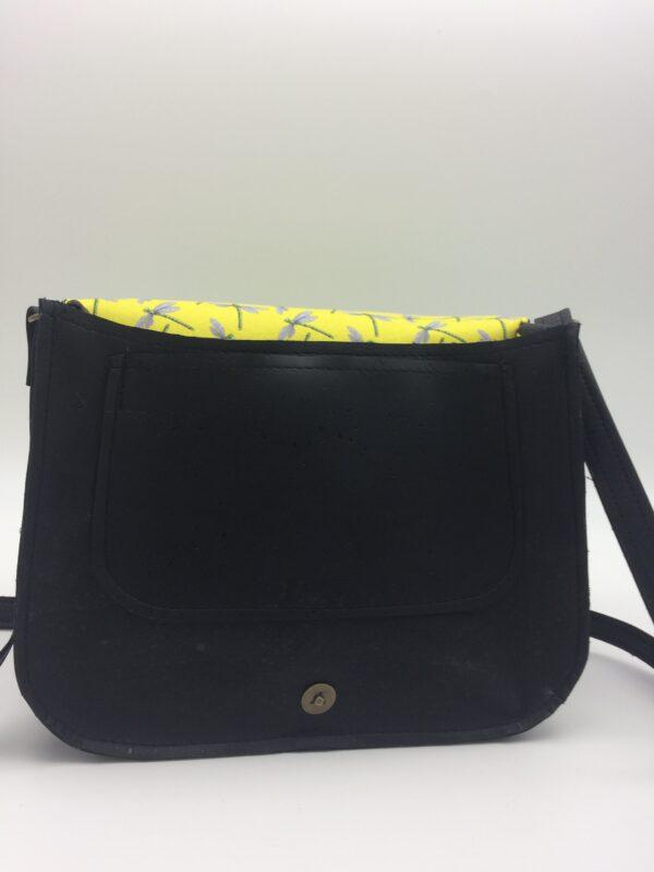 sac en liege, noir, modèle Zoé, motif libellule jaune