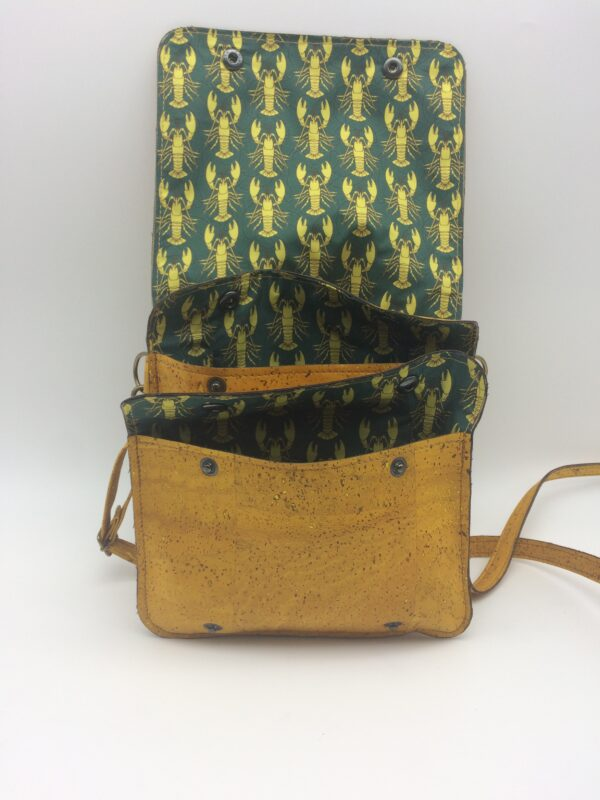 sac en liege, jaune, modèle Félicie, motif homard jaune