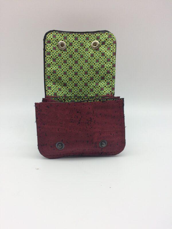 porte-monnaie en liege, porte-carte en liege, bordeaux, motif géométrique