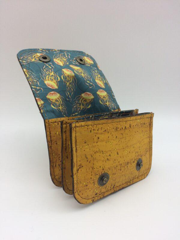 porte-monnaie en liege, porte-carte en liege, jaune , motif méduse jaune