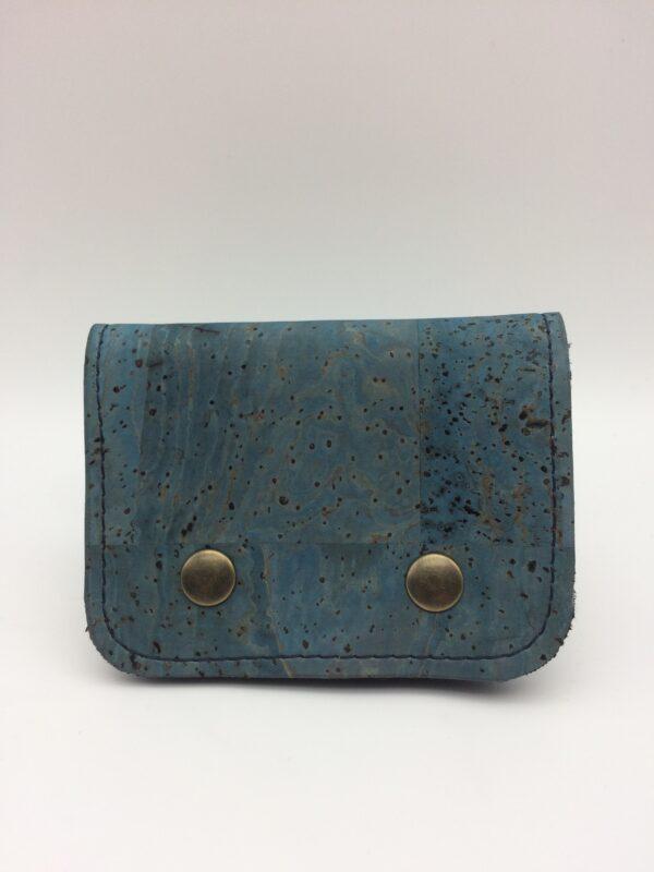 porte-monnaie en liege ,porte-cartes en liege, bleu