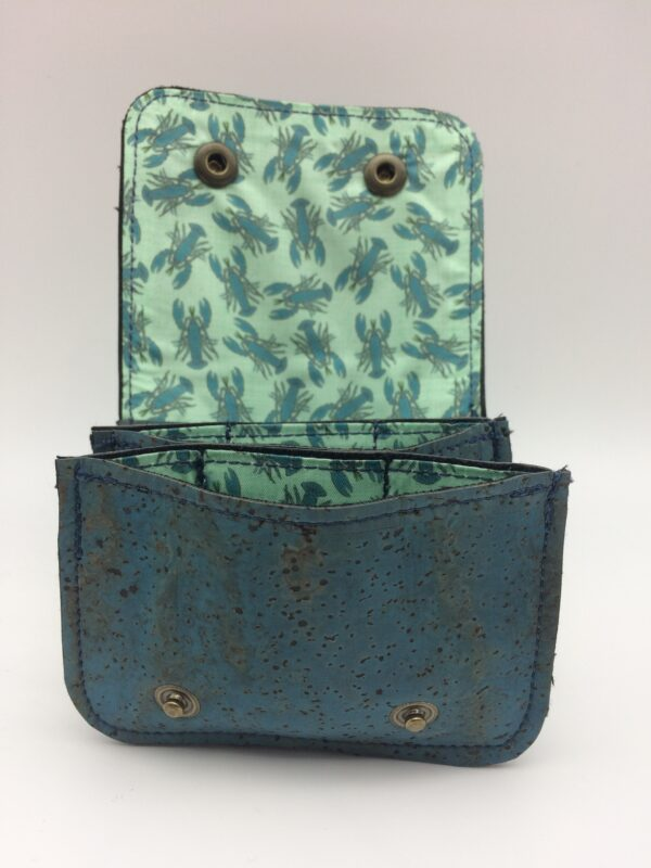 porte-monnaie en liege ,porte-cartes en liege, bleu, motif homard bleu