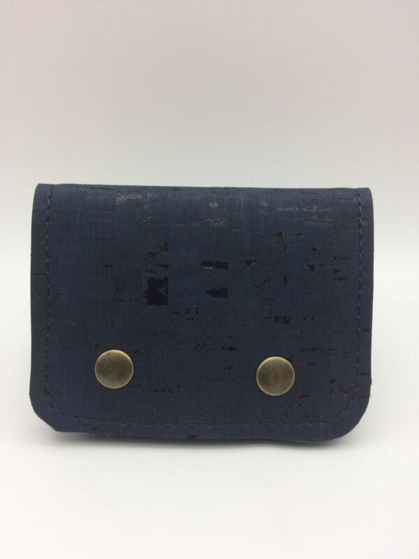 porte-monnaie en liege, porte-cartes en liege, bleu marine