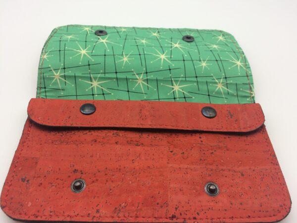 porte-monnaie en liege, porte-carte en liege, rouge-orangé , motif étoile