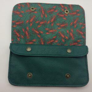 portefeuille en cuir, blague à tabac en cuir, vert , motif homard rouge