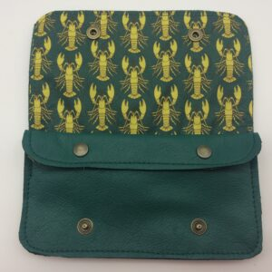 portefeuille en cuir, blague à tabac en cuir, vert , motif homard jaune