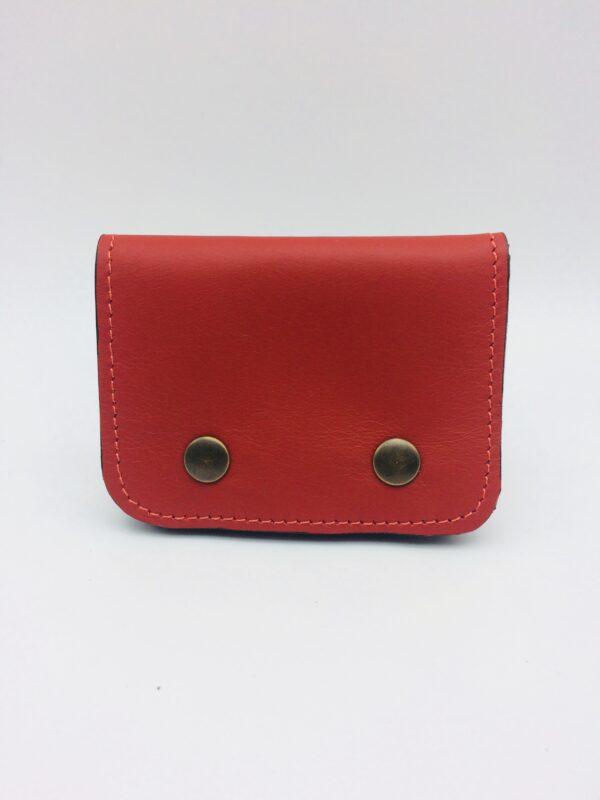 porte-monnaie, porte-cartes , cuir rouge, motif homard vintage