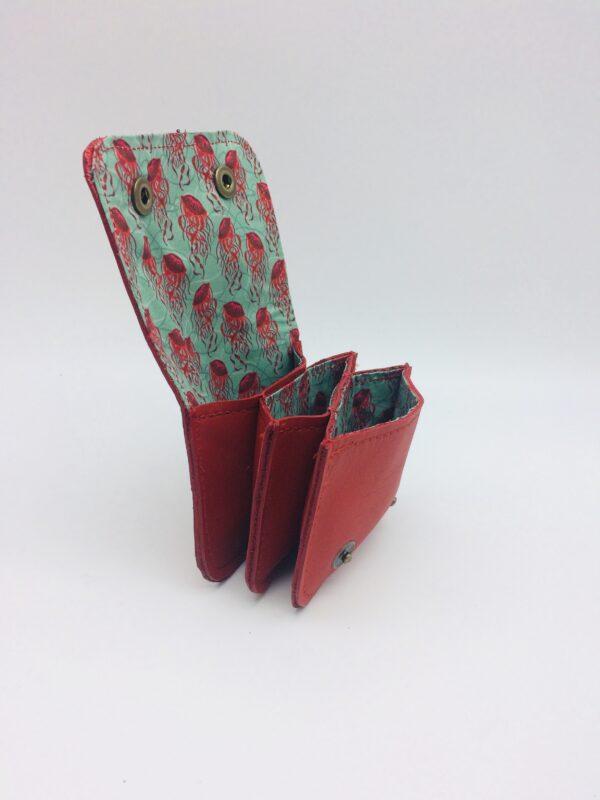 porte-monnaie, porte-cartes , cuir rouge, motif méduse rouge