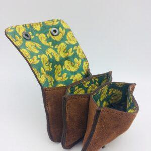 porte-monnaie en daim, porte-cartes en daim, marron, motif poisson jaune