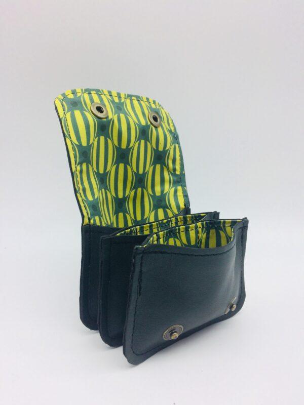 porte-monnaie en cuir, porte-cartes en cuir, noir, motif rond rayé jaune