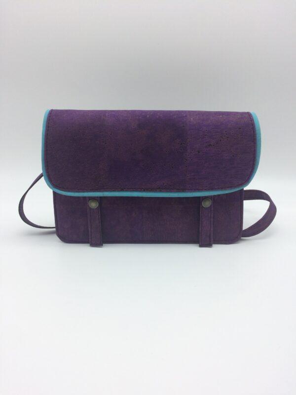 sac en liege , violet, motif homard bleu, modèle Félicie