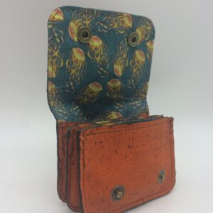 porte-monnaie en liege, porte-cartes en liege, orange, motif meduse