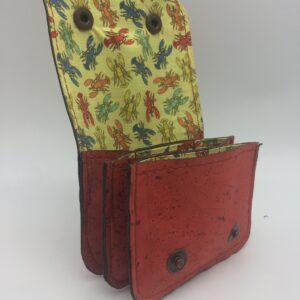 porte-monnaie, porte-cartes en liege, rouge orangé, motif homard vintage