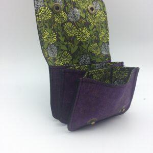 porte-monnaie, porte-cartes en liege, violet, motif pissenlit