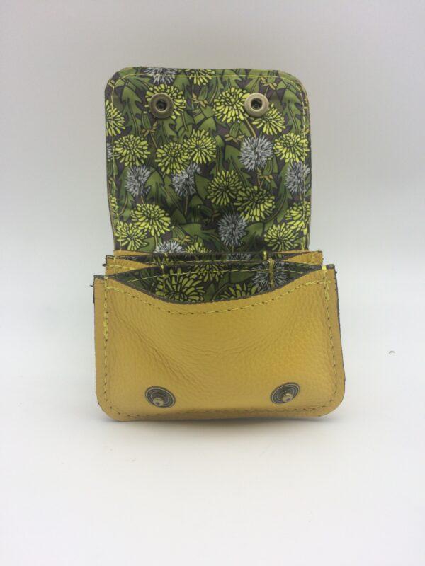 porte-monnaie, porte-cartes, cuir jaune, motif pissenlit
