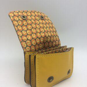 porte-monnaie, portes-cartes, cuir jaune, motif bulle