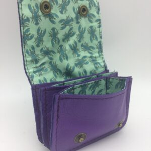 porte-monnaie, porte-cartes, cuir violet, motif homard bleu