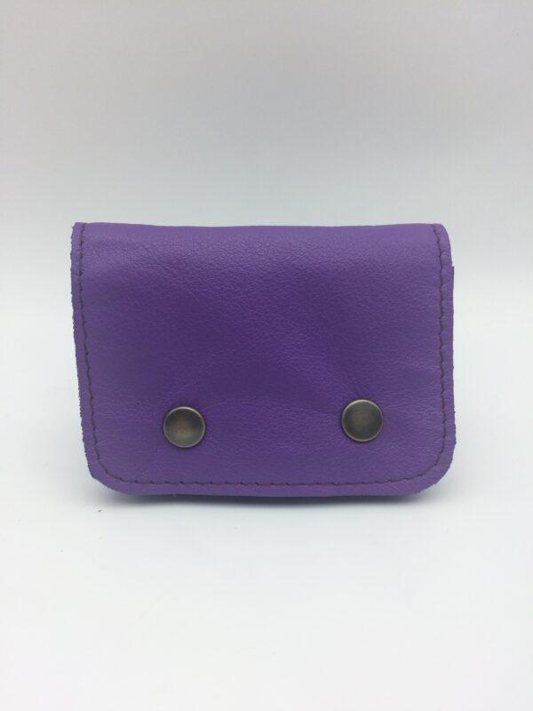 porte-monnaie, porte-cartes, cuir violet