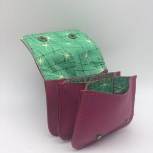 porte-monnaie, porte-cartes, cuir rose, motif etoile