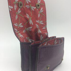 porte-monnaie ,porte-cartes, cuir aubergine, motif libellule rouge