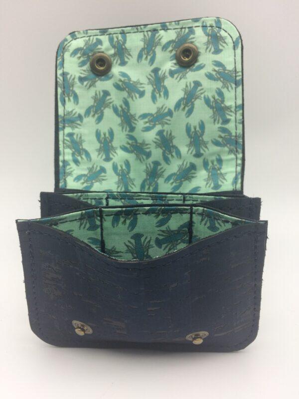 porte-monnaie, porte-cartes, liege bleu marine, motif homard bleu