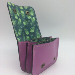 porte-monnaie, porte-cartes, cuir rose, motif méduse verte