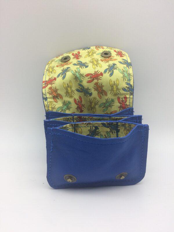 porte-monnaie, porte-cartes, cuir bleu, motif homard vintageporte-monnaie, porte-cartes, cuir bleu