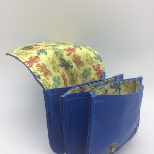 porte-monnaie, porte-cartes, cuir bleu, motif homard vintage