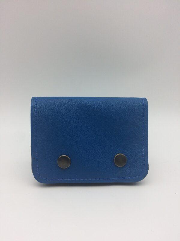 porte-monnaie, porte-cartes, cuir bleu