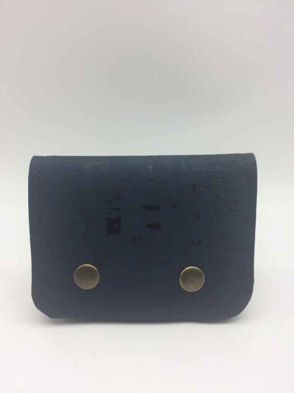 porte-monnaie, porte-cartes, liege bleu marine
