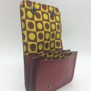 porte-monnaie, porte-cartes, cuir bordeaux, motif géometrique