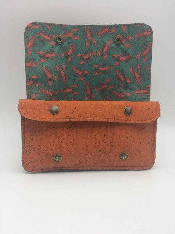 portefeuille en liege, orange, motif homard rouge