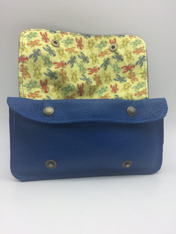 portefeuille ,blague à tabac, cuir bleu, motif homard vintage