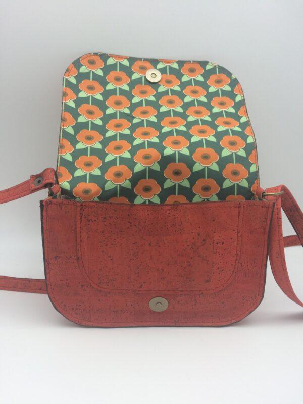 sac en liege, orange-rouge, modèle petite zoé, motif fleurs